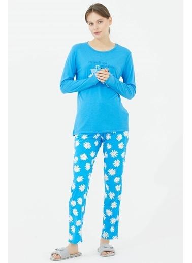 Sementa Uzun Kol Papatya Desen Pijama Takım   Mavi